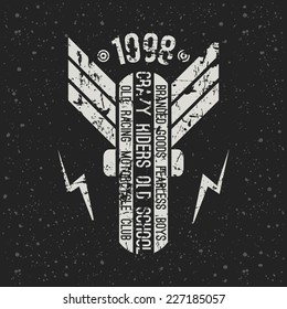 Emblem motorcycle club in retro style. Graphic design for t-shirt. White print on f dark background