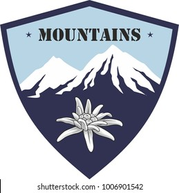 Emblem of mountain climbing. Symbol of outdoor adventure and Alp mountains. Hiking badges label. Blooming edelweiss flower. Travel, climber, camping, ski resort template. Vector silhouette.