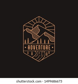 Emblem mountain and river landscape adventure logo icon vector template with line art style on black background
