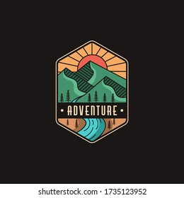 Emblem mountain and river landscape adventure logo icon vector template on black background