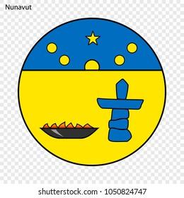 Emblem of Nunavut, province of Canada. Vector illustration