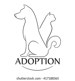 Emblem for the organization for adoption of animals. Isolated illustration on a white background. Dog and cat