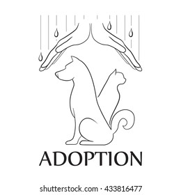 Emblem for the organization for adoption of animals. Isolated illustration on a white background. Protection of homeless animals. Dog and cat
