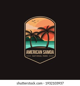 Emblem patch logo illustration of American Samoa National Park on dark background