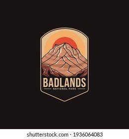 Emblem patch logo illustration of Badlands National Park on dark background