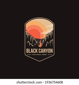 Emblem patch logo illustration of Black Canyon National Park on dark background