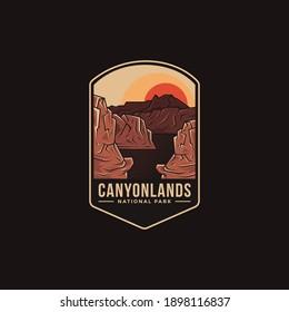 Emblem patch logo illustration of Canyonlands National Park on dark background