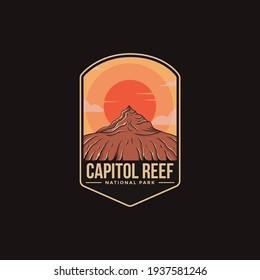 Emblem patch logo illustration of Capitol Reef National Park on dark background