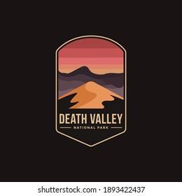 Emblem patch logo illustration of Death Valley  National Park on dark background