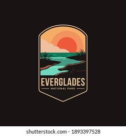 Emblem patch logo illustration of Everglades National Park on dark background