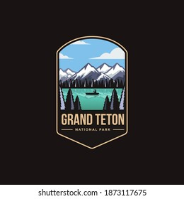 Emblem patch logo illustration of Grand Teton National Park on dark background