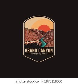Emblem patch logo illustration of Grand Canyon National Park on dark background