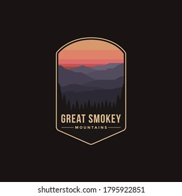Emblem patch logo illustration of Great Smokey Mountains National Park on dark background