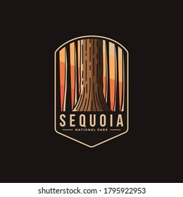Emblem patch logo illustration of Sequoia National Park on dark background