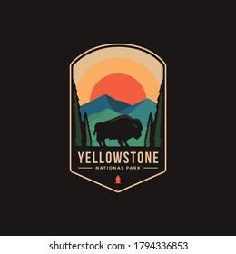 Emblem patch logo illustration of Yellowstone National Park - Shutterstock ID 1794336853