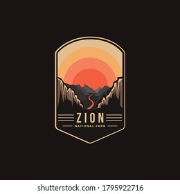 Emblem patch logo illustration of Zion National Park on dark background