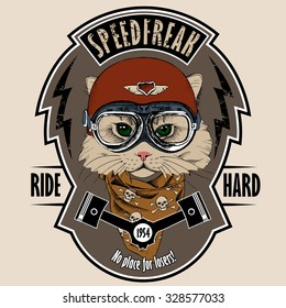 Emblem with portrait of a cat wearing motorcyclist helmet and neckerchief with image skulls. Vector illustration.