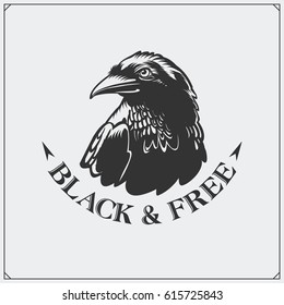 The emblem with raven for a sport team.