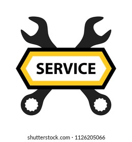 Emblem for Repair Service of Mechanics, Electronics or Software. Nice vector badge for Auto Repair or Tire Service.
