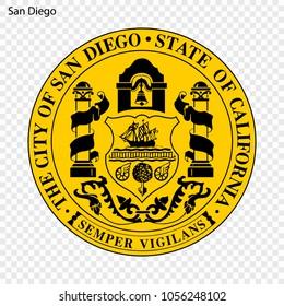 Emblem of San Diego. City of USA. Vector illustration