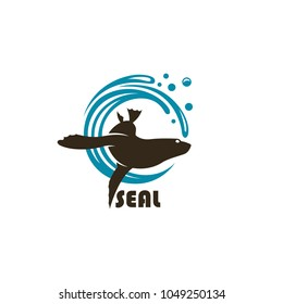 emblem of sea seal silhouette with water splash