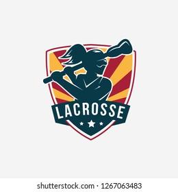 Emblem Seal badge Lacrosse Girl Team logo illustration vector template on white background