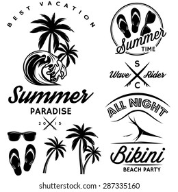 emblem set for design to topic summer with bikini party, sunglasses, flip-flops