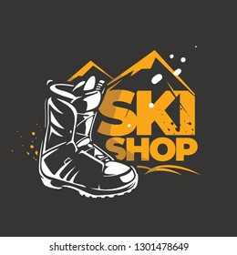 Emblem for a shop with winter sport equipment. Rent of skiing and snowboarding