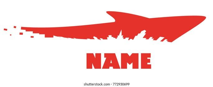 Emblem, sign, city shark, vector, illustration