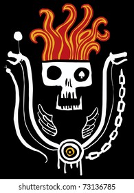Emblem of a skull in flames and rudder of the motorcycle