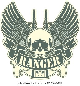Emblem with a skull and the weapon