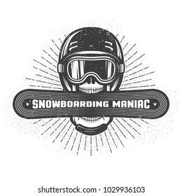 Emblem of the snowboarding maniac. Skull in sports helmet and ski goggles holds snowboard in wide open mouth. Worn texture and dots on separate layers and can be disabled.