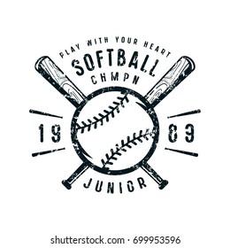Emblem of softball junior team. Graphic design for t-shirt. Black print on white background