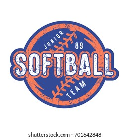 Emblem of softball junior team. Graphic design for t-shirt and stickers. Color print on white background