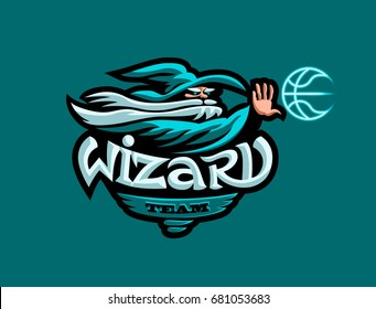 Emblem for the sports team. A wizard with a beard in his hat and a basketball.