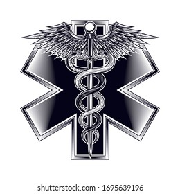 Emblem of the star of life with Caduceus symbol. Vector illustration in engraving technique. Modern symbol of medicine, emergency medical services, paramedics, technicians. Isolated on white.