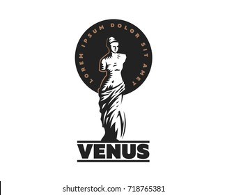Emblem statue of Venus. Vector illustration.