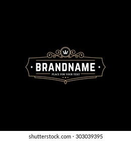 emblem template with crown. Sign for Restaurant, Royalty, Jewelry, Boutique, Cafe, Hotel, Heraldic.
