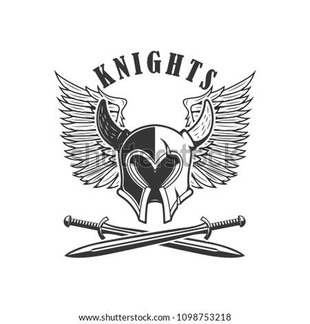 emblem template medieval knight helmet crossed stock vector royalty