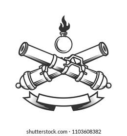 Emblem template with vintage cannons. Design element for logo, label, sign. Vector image