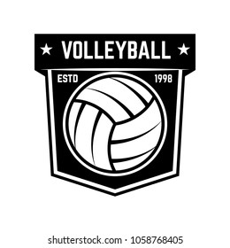 Emblem template with volleyball ball isolated on white background. Design element for logo, label, emblem, sign. Vector illustration