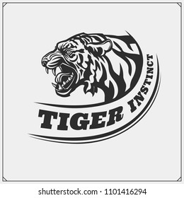 The emblem with tiger for a sport team.