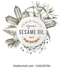 Emblem with type design - premium quality organic sesame oil since 2015 - over hand drawn sesame plant and seeds