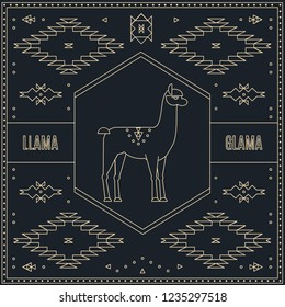 Emblem, vintage logo, label or badge with a silhouette of llama and native ornaments in the style of linear design.
