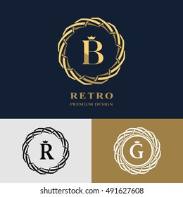 Emblem of the weaving circle. Monogram design elements, graceful template. Simple logo design Letter B, R, G for Royalty, business card, Boutique, Hotel, Heraldic, Web design. Vector illustration