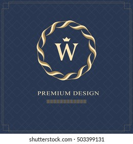 Emblem of the weaving circle. Monogram design elements, graceful template. Simple logo design Letter W for Royalty, business card, Boutique, Hotel, Heraldic, Web design, Jewelry. Vector illustration
