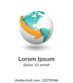 Emblem with white globe and orange arrow isolated on white background