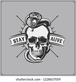 Emblem whith skull and snake. Print design for t-shirts.