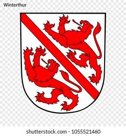 Emblem of Winterthur. City of Switzerland. Vector illustration