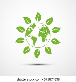 Emblem-logo earth for organic shop, healthy food store or vegetarian cafe. Eco world globe. Vector illustration